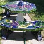 ceramic art - table and benches